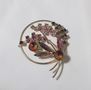 Jewelry - Gold Garnet & Pink Holiday Berry Tree Brooch